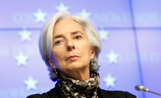 IMF executive director Lagarde attends a news conference after a Eurogroup meeting in Brussels